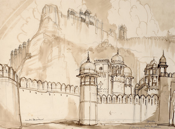 André Maire 1898-1984Gwalior, 1938 Ink, wash and pencil on paper Signed lower left and inscribed 'gwelor (sic)/ Indus anglaise/ (andre Maire)' lower right 36 x 54 cm 14 1/8 x 21 1/4 in