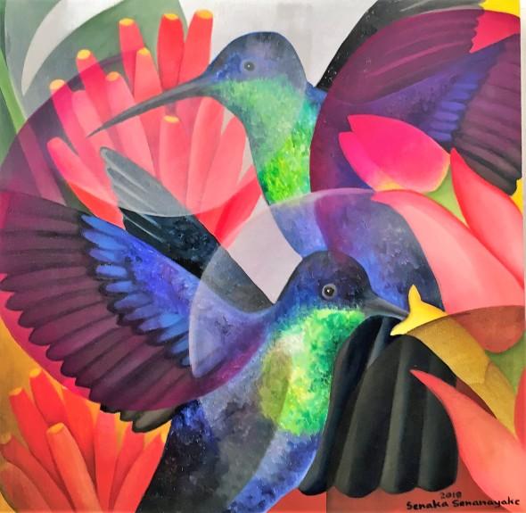 Senaka Senanayake Humming Birds, 2018 Oil on canvas 60.9 x 60 cm 24 x 23 5/8 in