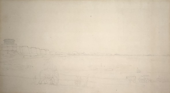 Thomas Daniell, R.A. (1749 – 1840) and William Daniell, R.A. (1769 – 1837) View of India (Elephant in Foreground), c.1790 Pencil on paper 26 x 48 cm 10 1/4 x 18 7/8 in