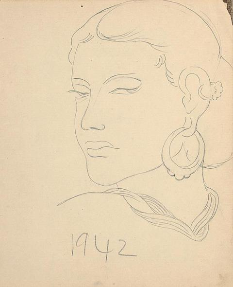 Francis Newton Souza, Untitled (Woman with Earring), 1942