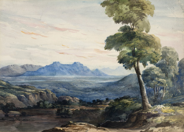 19th Century British Indian view with Mountains Watercolour on paper 26.5 x 37.5 cm 10 3/8 x 14 3/4 in