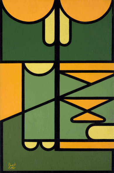 Anwar Jalal Shemza 1928-1985Green and Yellow Composition, 1963 Oil on board Signed and dated lower left, signed and dated 'Shemza 63' and with an unfinished work on the reverse 61 x 41 cm 24 1/8 x 16 1/8 in