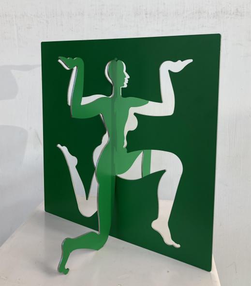 Dhruva Mistry b. 1957Varsha, 2014-2015 Bright green epoxy paint on 2mm stainless steel Signed and dated 'Varsha, Vrsa V2ls Dhruva Mistry, 2014-15' 29.5 x 28.7 x 22.1 cm 11 5/8 x 11 1/4 x 8 3/4 in