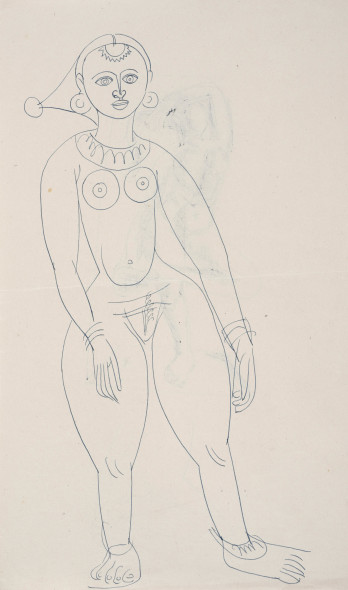 Francis Newton Souza, Untitled (Study for Girl with Goat) recto; Untitled (Dancing Figure) verso, 1949