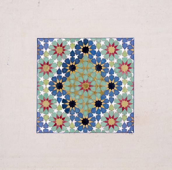 Elisabeth Deane b. 1985Mini Carpet, 2019 Gold leaf, platinum leaf, natural pigments and Arabic gum on antique Indian paper 11.1 x 11.1 cm 4 3/8 x 4 3/8 in