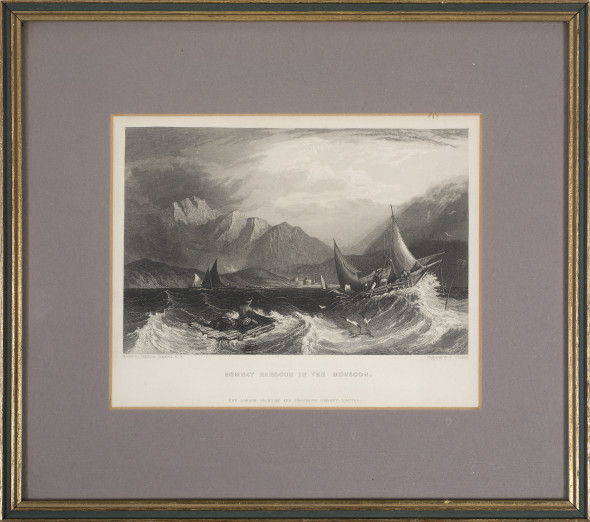 After Clarkson Stanfield 1793 – 1867Bombay Harbour in the Monsoon, c.1844 Engraving on paper, engraved by E. Goodall 12 x 18.5 cm (image) 4 3/4 x 7 1/4 in