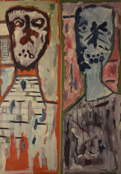 Lancelot Ribeiro 1933-2011Untitled (Monolithic Heads), 1967 Oil and polyvinyl acetate on canvas Signed and dated twice 142.2 x 100.3 cm 56 x 39 1/2 in