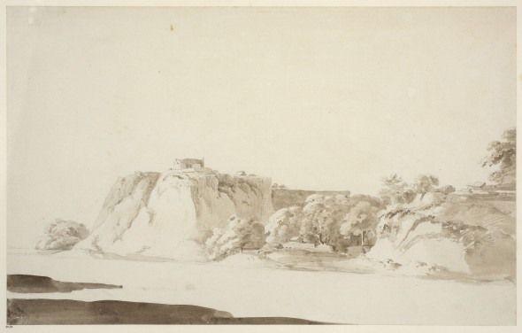 Thomas Daniell, R.A. (1749 – 1840) and William Daniell, R.A. (1769 – 1837) Dalmow, On the Ganges, 1789 Pencil and wash on paper, laid down on paper within artists' lined border, paper watermarked PORTAL & BRIDGES, inscribed '95/33' lower left and 'Dalmow on the Ganges' lower middle within artists' border, further inscribed 'P. # 6 Dalmow on the Ganges' on reverse 29.8 x 47.7 cm 11 3/4 x 18 3/4 in