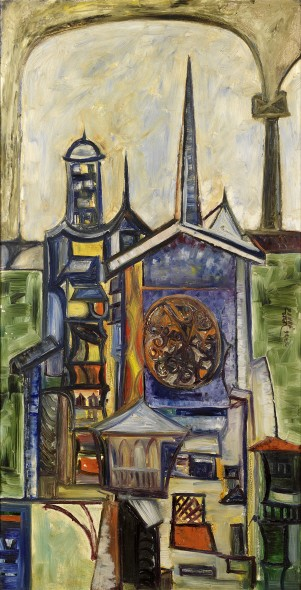Sadanand K. Bakre 1920-2007Untitled (Landscape with Cathedral Spire), 1965 Oil on board Signed and dated lower left, verso signed and dated 121.4 x 60.5 cm 47 3/4 x 23 7/8 in