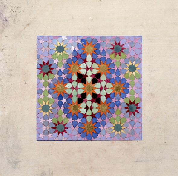 Elisabeth Deane b. 1985Diamond Cross Geometry, 2019 Gold leaf, platinum leaf, natural pigments and Arabic gum on antique Indian paper 11.1 x 11.1 cm 4 3/8 x 4 3/8 in