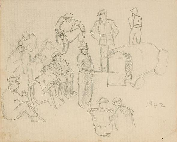 Francis Newton Souza, Untitled (Composition with Soldiers), 1942