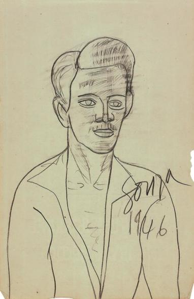 Francis Newton Souza, Untitled (Self Portrait aged 22), 1946