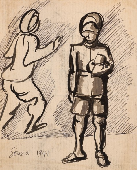 Francis Newton Souza, Untitled (Bearer) recto; Untitled verso, 1941