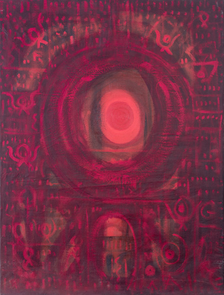 Prafulla Mohanti b. 1936Ratri, c.1965 Oil on canvas Signed and titled 'Ratri/ Mohanti' on the reverse 101 x 76.5 cm 39 3/4 x 30 1/8 in