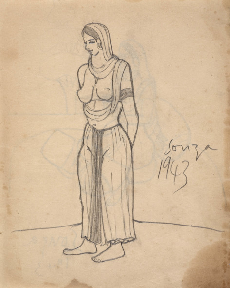 Francis Newton Souza, Untitled (Standing woman) recto; , 1943