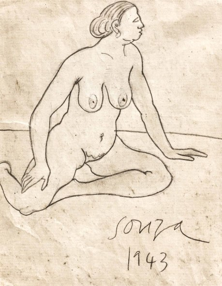 Francis Newton Souza, Untitled (Seated nude), 1943