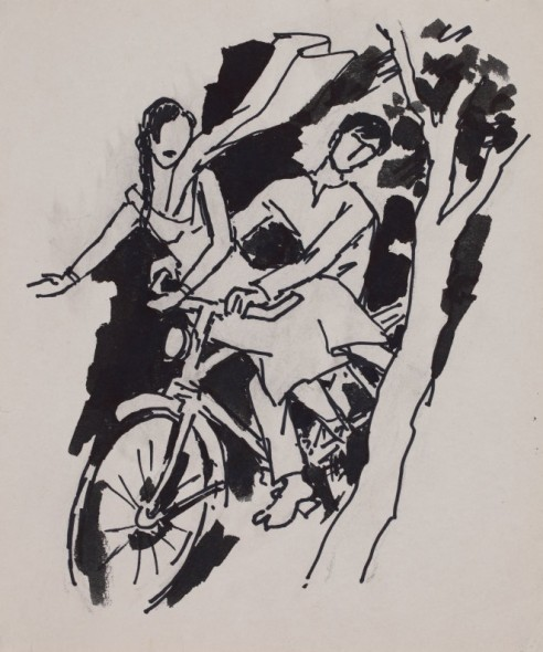 Maqbool Fida Husain, Untitled (Couple on a bicycle)