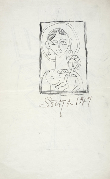 Francis Newton Souza, Untitled (Mother and Child) recto; Untitled (Shiva) verso, 1949