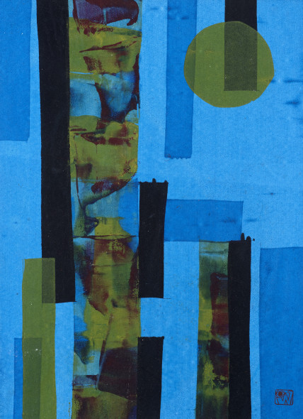 Ibrahim Wagh 1932-2013Untitled (Blue abstract), c.1970 Unique screenprint on paper Stamped with the artist's monogram lower right 49 x 35 cm 19 1/4 x 13 3/4 in