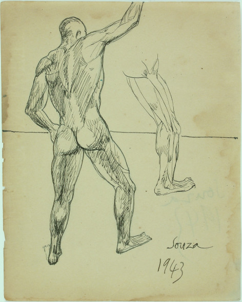 Francis Newton Souza, Untitled (Male study) recto; Untitled (Male study) verso, 1943