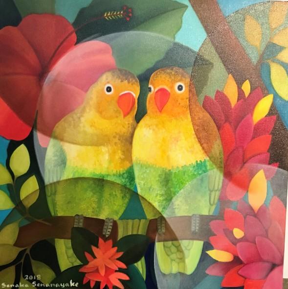 Senaka Senanayake Lovebirds, 2018 Oil on canvas 60.9 x 60 cm 24 x 23 5/8 in