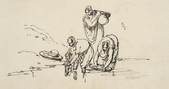 George Chinnery 1774-1852Three Figures by the Water, Circa 1810-20 Pen and ink on paper 11.4 x 19.1 cm 4 1/2 x 7 1/2 in