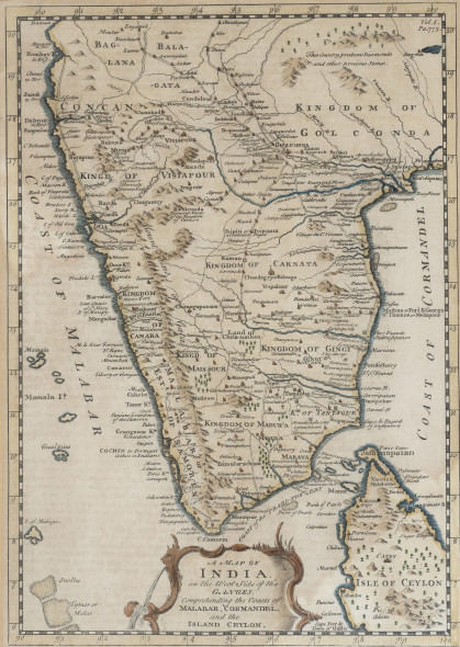 1. Emanuel Bowen 1694[?]–1767 A Map of India on the West Side of the Ganges comprehending the Coasts of Malabar, Cormandel (sic.) and the Island Ceylon, Mid 18th century Hand coloured engraving on paper 33.5 x 24 cm 13 1/4 x 9 1/2 in