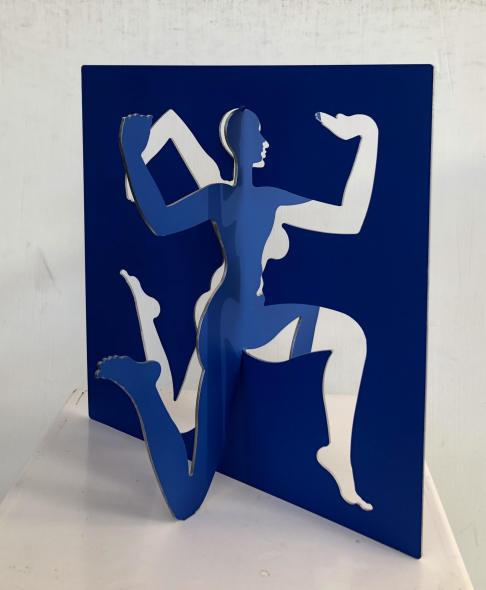Dhruva Mistry b. 1957Shishir, 2014-2015 Cobalt Deep epoxy paint on 2mm stainless steel Signed and dated 'Shishir, SisrV2ls Dhruva Mistry, 2014-15' 29.5 x 28.7 x 22.1 cm 11 5/8 x 11 1/4 x 8 3/4 in