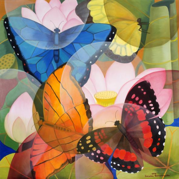 Senaka Senanayake Lotus Butterflies, 2018 Oil on canvas 106.7 x 106.7 cm 42 x 42 in