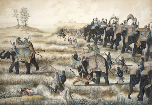 A Royal Entourage Hunting Tiger, circa 1810