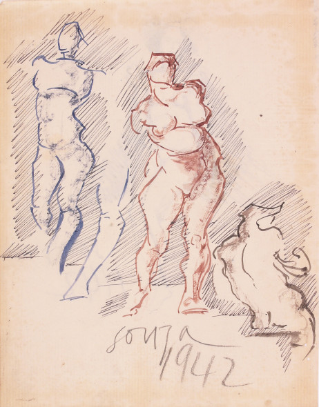 Francis Newton Souza, Untitled (Three Figures) recto; Untitled (Nude) verso, 1942