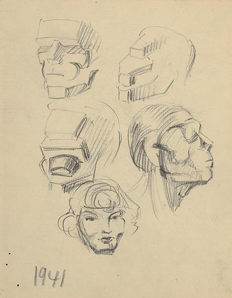 Francis Newton Souza, Untitled (Heads), 1941