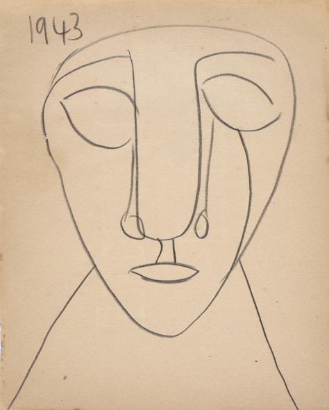 Francis Newton Souza, Untitled (Head), 1943