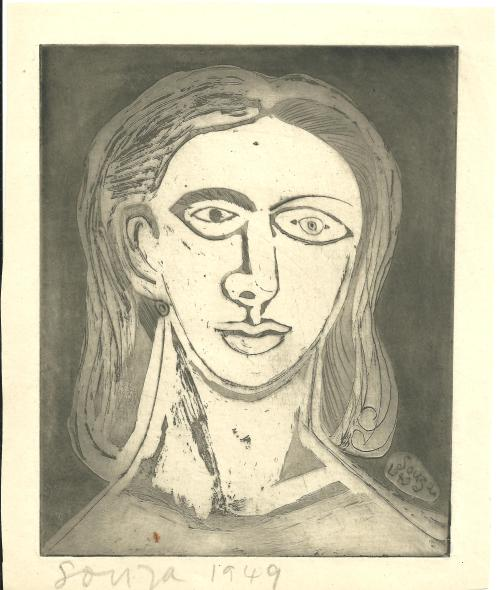Francis Newton Souza, Untitled (Head of a woman), 1949
