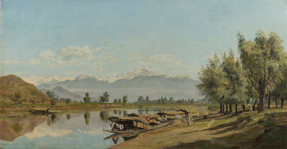 Captain Frederick William John Shore 1844-1916Flotilla at Baramulla, Kashmir, 1892 Oil on canvas SIgned and dated 'F.SHORE 1892' lower right, inscribed on the stretcher 32.5 x 61 cm 12 3/4 x 24 1/8 in