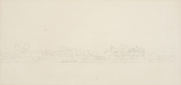 Thomas Daniell, R.A. (1749 – 1840) and William Daniell, R.A. (1769 – 1837) View of India (Domed Temple), c.1790 Pencil on paper 18 x 39 cm 7 1/8 x 15 3/8 in