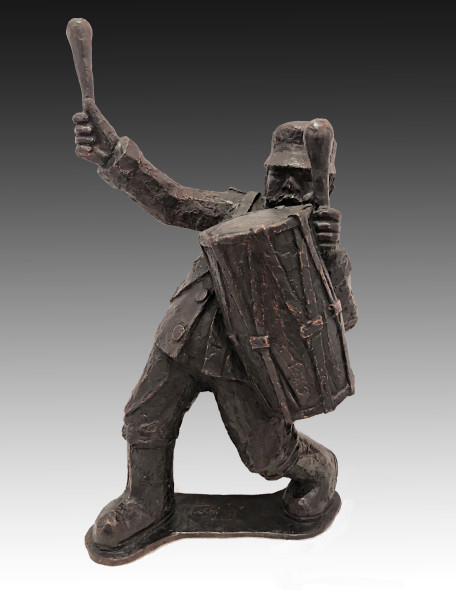 Krishen Khanna b. 1925Untitled (Bandwalla with Drum II), 2019 Bronze edition of 9 + 2 AP height 55.9 cm height 22 in