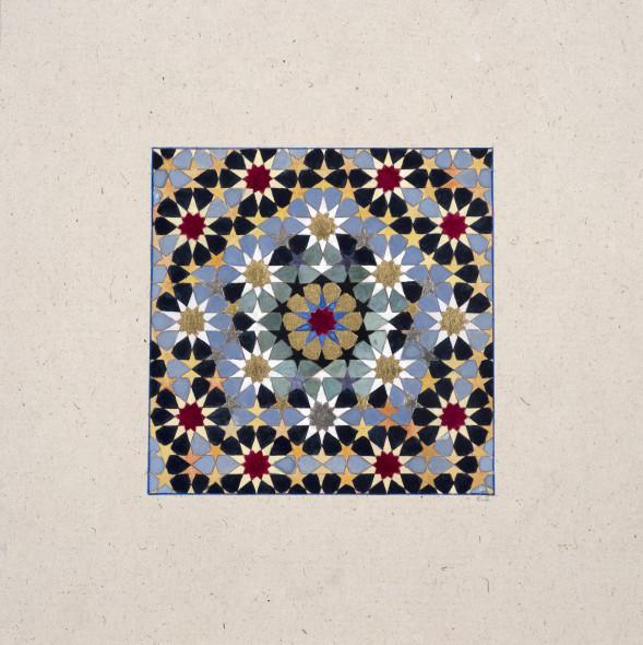 Elisabeth Deane b. 1985Pentagons, 2018 Gold leaf, platinum leaf, natural pigments and Arabic gum on antique Indian paper 11.1 x 11.1 cm 4 3/8 x 4 3/8 in