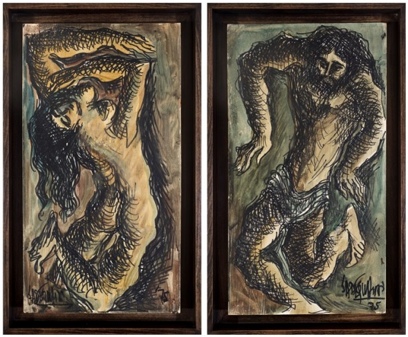 Syed Sadequain 1930-1987Untitled (Adam and Eve), 1975 Oil on panel Each signed and dated along lower edge 45.7 x 24.7 cm (18 x 9 3/4 in) 46 x 24.6 (18 1/4 x 9 3/4 in)