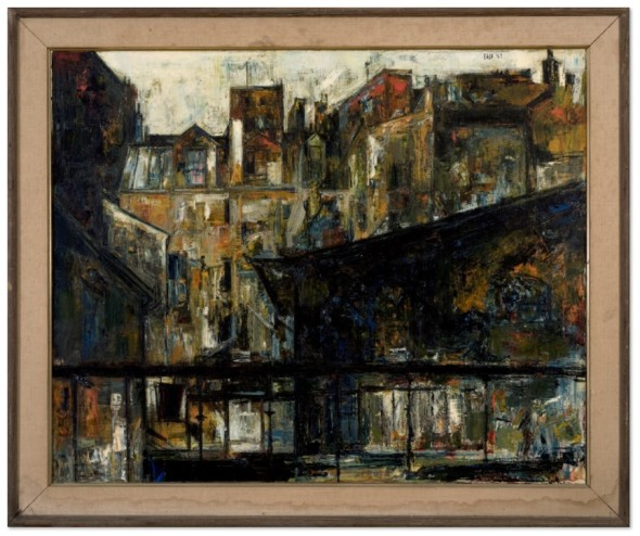 Sayed Haider Raza 1922-2016Maisons St. Jacques, 1957 Oil on canvas Signed and dated 'Raza '57' upper right 81 x 100 cm 31 7/8 x 39 3/8 in