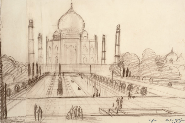 André Maire 1898-1984The Taj Mahal, Agra, 1938 Pastel on paper Signed dated and inscribed 'agra, andre Maire/ 1938' lower right 36 x 54 cm 14 1/8 x 21 1/4 in