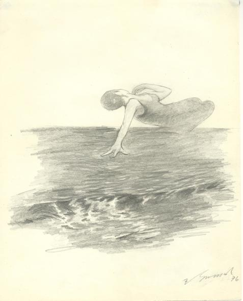 Yashwant Mali b.1934Untitled (Ballet on the Sea series), 1976 Graphite on paper Signed and dated lower right and on the reverse 25.4 x 20.2 cm 10 x 8 in