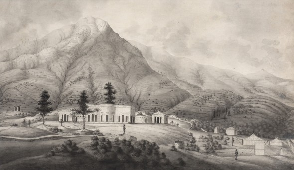 Company School A Company Settlement in the Indian Foothills, Early 19th Century Ink and wash on watermarked paper 27 x 46.5 cm 10 5/8 x 18 1/4 in