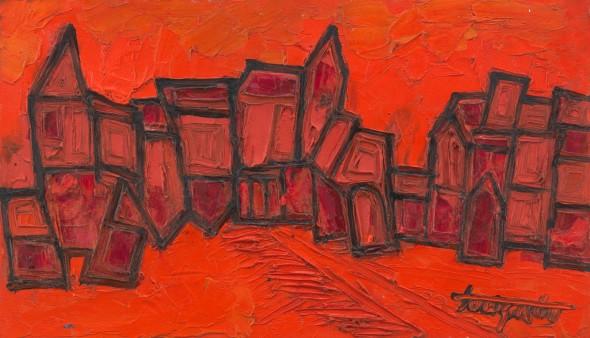 Francis Newton Souza, Red Landscape, 1960