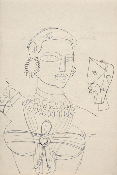 Francis Newton Souza, Untitled (Temple Dancer) recto Untitled (Shiva and Parvati) verso, 1949 circa