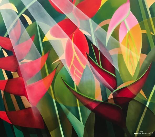 Senaka Senanayake b. 1951Heliconias, 2018 Oil on canvas 119.4 x 152.4 cm 47 x 60 in