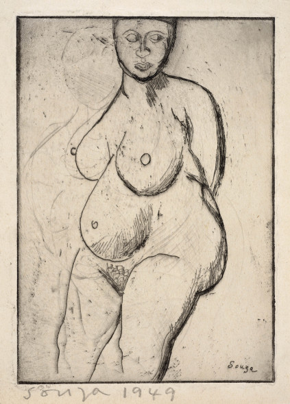 Francis Newton Souza, Untitled (Standing Nude), 1949