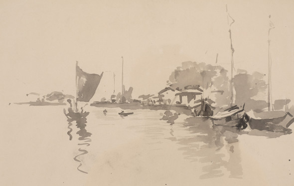 Atul Bose 1898-1977Boats on the Padma, c.1930 Watercolour on paper 25 x 35.5 cm 9 7/8 x 14 in