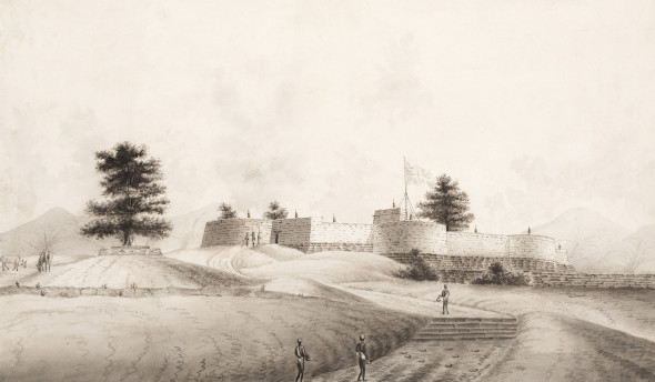 Company School A British Fort, Early 19th Century Ink and wash on Whatman paper 25.4 x 43.8 cm 10 x 17 1/4 in