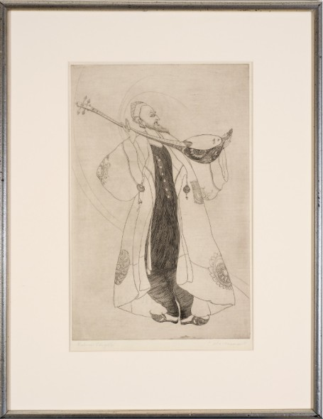 Abdur Rahman Chughtai 1897-1975Old Musician Etching on paper Signed and titled along lower edge 45.7 x 29.9 cm 18 x 11 3/4 in
